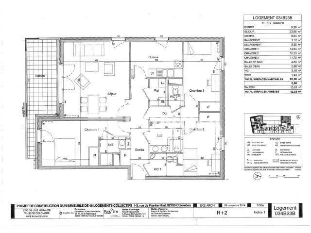 Appartement a louer colombes - 4 pièce(s) - 96 m2 - Surfyn